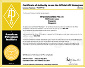 Certificate of Authority to use the Official API Monogram - 16A-0143